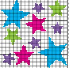 Cross-stitch Stars... no color chart available, just use the pattern chart as your color guide or choose your own colors...    Ravelry: Array of Stars Chart pattern by Niamh Dhabolt