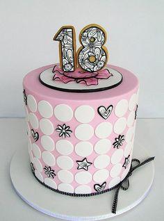 Pretty Pink Black 18th Birthday Cake