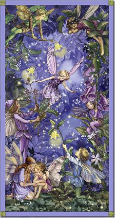 Licensed by the Estate of Cicely Mary Barker to Michael Miller Fabrics, this panel features night flower fairies. The panel measures about x The color palette includes shades of blue, purple and green. Use for quilting and craft projects. Cicely Mary Barker, Fairy Dust, Fairy Land, Fairy Tales, Elfen Fantasy, Night Flowers, Fairy Pictures, Vintage Fairies, Fantasy Kunst