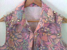 Girly Studded Vest / Pink / Pastel / Floral Print / Leaf / Boho / Indie / 90's / Grunge / Summer Festival on Etsy, £23.07