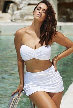 fe17cae3b0274 Swim Sexy The Valentine White Skirtini High Waisted Swim Skirt