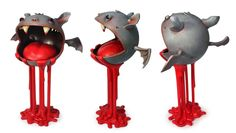 """Bat Ball"" | Size: 6""x8""x14"" | Medium: Acrylic & Resin | Edition: 1 | Artist : Andrew Bell | Image 2 of 5"