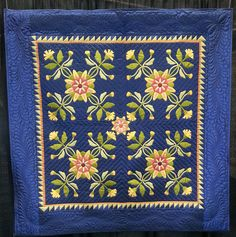 Exhibit Entry - loooove the blue! Appliqué Quilts, Blue Quilts, Mini Quilts, Quilting Projects, Quilting Designs, Applique Wall Hanging, Pomegranates, Traditional Quilts, Wool Applique