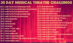 30 Day Musical Theatre Challenge ~ Definitely going to do this soon (I think I'll start in December)