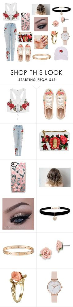 """Flowers"" by jorjarestall14 ❤ liked on Polyvore featuring Topshop, Dolce&Gabbana, Casetify, Betsey Johnson, Cartier, 1928, Vintage, Olivia Burton and Armitage Avenue"