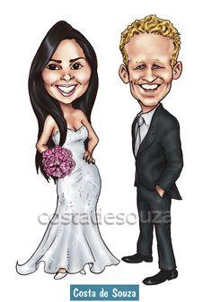Caricatura de noivos para convite e quadro. Peça a sua! #caricatura #casamento