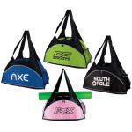 """Fitness Duffel Bag    600D polycanvas/210D polyester duffel with front zipper pocket, mesh side pocket, and web strap on top. Secure area to carry yoga mat. Size: 10""""h x 19 """"w x 8"""" gusset. 4"""" h x 8"""" w print area  Colors  Black/black , Black/lime , Black/Pink , Black/reflex Blue"""