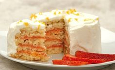 """Strawberry Rhubarb Icebox Cake -  So easy to make allergy friendly! Just sub your favorite vanilla cookie recipe and a safe """"cool whip""""."""