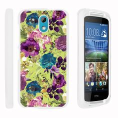 HTC Desire 526G Case SNAP SHELL Hard White Plastic Case with Non Slip - Yellow Purple Flowers