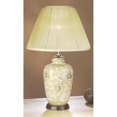 Gold Thistle ginger jar ceramic table lamp complete with shade. A traditional design Chinese influenced lamp from the Oriental range that forms part of our Empire Table Lamp Collection.