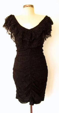 Black on Black Floral Rope Spaghetti Strap 1990/'s Vintage Dress