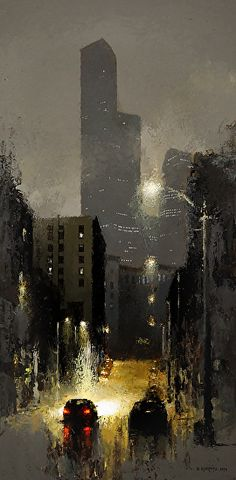 The Dark Tower Looms Over Night by David Cheifetz Oil ~ 24 x 12
