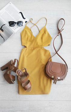 Miami Vice Mini Dress in Mustard