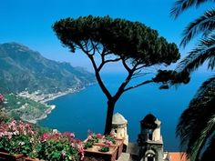 Ravello - Amalfi Coast, Campania, Italy * Ravello lies perched 1,000 feet above the blue Mediterranean waters, with breathtaking views of the cliff-lined Amalfi Coast.  Frequented by artists and writers (for many years, American novelist and playwright Gore Vidal kept a home here), Ravello is also a music center:  The summer's prestigious Wagner Festival brings in performers and visitors from around the world.