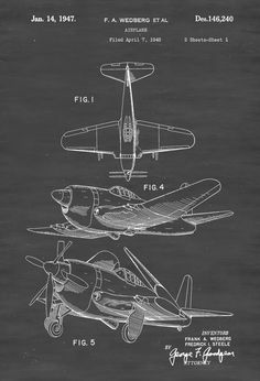 OFFICE 1947 Airplane Patent - Vintage Aviation Art, Airplane Art, Airplane Blueprint, Pilot by ColoredLens on Etsy Airplane Room, Airplane Decor, Aviation Decor, Blueprint Art, Pilot Gifts, Air Festival, Patent Drawing, Vintage Airplanes, Aircraft Design