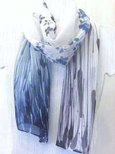 Hand Painted Silk Scarf, Sumi Wildflowers Floral Scarf. Black Silk Scarf, Blue White Silk Scarf. 10x56 in. Made to order.. $52.00, via Etsy.