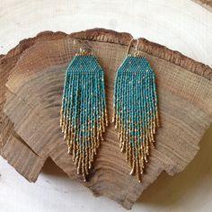 Pendientes de Cyan mancha verde y oro-hecho por encargo