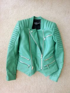 balmain green leather jacket | 6am-mall.com