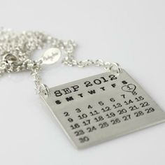 Custom Mark Your Calendar Top Hang Necklace by Punky Jane   Hatch.co