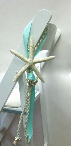 Beach Wedding Chair Decoration - Many Ribbon COLORS available - Natural White Starfish - 6-7 in. - with Cording and Ribbon