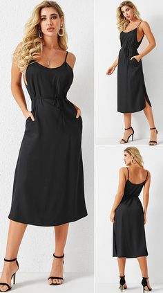 Black Backless Lace-up Design Slit Square Neck Spaghetti Strap Dress HOT SALES 2020, beautiful dresses, pretty dresses, holiday fashion, dresses outfits, dress, cute dresses, clothes, classy & elegant, elegant style, mode trends 2020, trending, fashion, fashion looks, moda, women, beautiful, beauty, buy, sale, shop, shopping, vestidos elegantes, vestidos fofos, vestidos bonitos