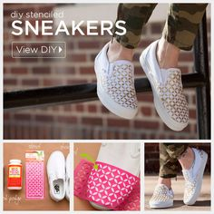 For a foolproof pattern, use some Mod Podge, glitter, and a stencil. | 21 Super-Easy Ways To Make Your Shoes Look More Expensive