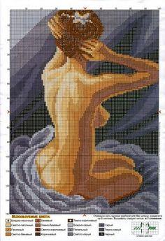 cross stitch woman, lady at her bath
