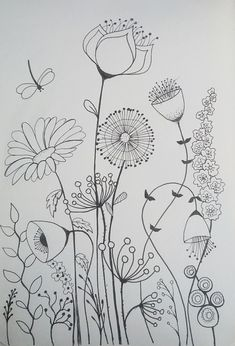 Botanical Line Drawing, Botanical Drawings, Watercolor Paintings For Beginners, Simple Line Drawings, Doodle Art Journals, Paint Cards, Flower Doodles, Fabric Painting, Watercolor Flowers