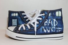 The Bad Wolf Doctor Who converse shoes Blue by LucianaHandmade