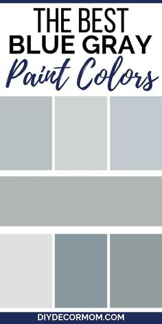 Most Popular Blue Gray Paint Colors- Benjamin Moore Sherwin-Williams See the best blue gray paints from Sherwin-Williams and Benjamin Moore! 25 best bluish gray colors for your kitchens, cabinets, bedrooms, and living rooms that you need! Bluish Gray Paint, Blue Gray Paint Colors, Blue Green Paints, Paint Colours, Cabinet Paint Colors, Bedroom Paint Colors, Paint Colors For Home, Blue Gray Kitchen Cabinets, Blue Gray Kitchens
