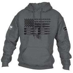 SOME SIZES ARE BACKORDERED ALL SIZES ESTIMATED TO START SHIPPING 4/7   WE ARE CURRENTLY SHIPPING A HIGH VOLUME OF ORDERS DAILY. DUE TO THE POPULARITY OF THIS ITEM, PRODUCTION IS ONGOING AND EXTENDED SHIPPING TIMES CAN BE EXPECTED. Rounds, Flag, Freedom...what else do you need? Grunt Style's Ammo Flag Hoodie is a charcoal hoodie made of 50% cotton and 50% polyester.