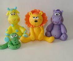 Edible Fondant Cake Toppers - Giraffe, Lion, Snake, Hippo