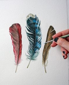 935058f6327 Behind ear / blue jay+cardinal Red Feather, Feather Art, Feather Tattoos,