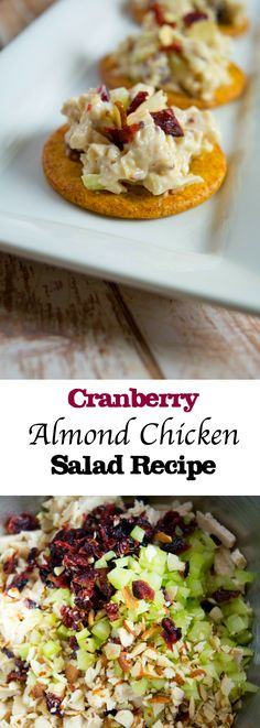 "Cranberry Almond Chicken Salad:   This dish is so satisfying and full of flavor! If you are having a busy week, just make this ahead of time and when you are ready for a quick snack or lunch, serve over crackers or even apple slices! If you are looking for a ""healthier"" version just omit mayo and sour cream and replace with Greek Yogurt!"