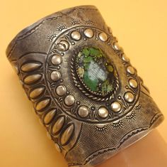 Huge NAVAJO Hand-Stamped & Repoussé Sterling Silver & TURQUOISE Cuff…