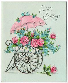 Vintage Greeting Card Easter Unused w/ Envelope Embossed Flower Cart Decoupage Vintage, Decoupage Paper, Easter Art, Easter Crafts, Vintage Greeting Cards, Easter Greeting Cards, Munier, Flower Cart, Easter Flowers