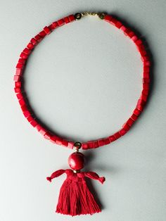 Puppet Necklace by Carla Szabo Puppets, Tassel Necklace, Designers, Jewelry Design, How To Make, Doll, Hand Puppets