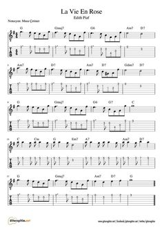 La Vie En Rose & Nota & Tab Life in Pink & Note & Tab The post Life in Pink & Note & Tab appeared first on Pink Unicorn. Jazz Sheet Music, Trumpet Sheet Music, Guitar Sheet Music, Violin Music, Jazz Guitar, Guitar Chords For Songs, Ukulele Tabs, Ukulele Chords, Piano Tabs
