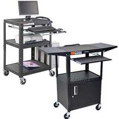 Steel Audio Visual Carts with Sliding Keyboard Shelf