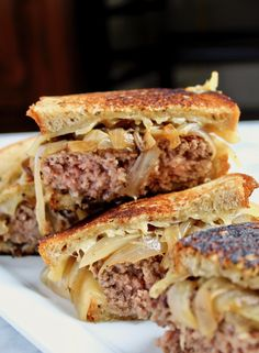 diner-style patty melts at home, beef patties grilled on rye bread with Swiss cheese and caramelized onions.Classic diner-style patty melts at home, beef patties grilled on rye bread with Swiss cheese and caramelized onions. Grilled Cheese Burger, Grilled Sandwich, Sandwich Recipes, Vegan Sandwiches, Chicken Sandwich, Sandwich Board, Diner Recipes, Meat Recipes, Cooking Recipes