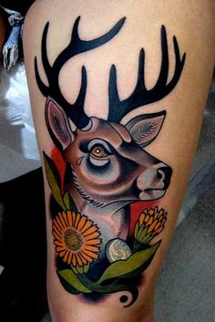Traditional Deer Head Tattoo