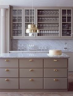 paint kitchen cabinets a gray brown taupey color?Not too dark. Not too light & Kitchen island paint color is Chelsea Gray Benjamin Moore. via Park ...