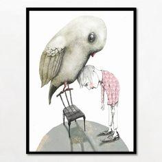 Bob Noon fugl illustration i ramme