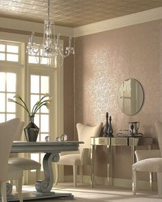 Old Hollywood Decor...love the curves, soft color and the sense of quiet this room eminates