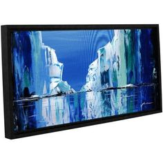 ArtWall Milen Tod Gelid Gallery-wrapped Floater-framed Canvas, Size: 12 x 24, Blue