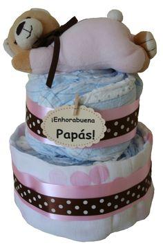 Tarta Pequeño Dormilón Rosa  Preciosa tarta de pañales con nuestro sonajero…