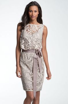 I've literally been looking everywhere for a dress to wear to my boyfriend's mom's wedding this summer. This dress is it!! Want. So. Bad. (Tadashi Shoji Lace Overlay Ribbon Dress)