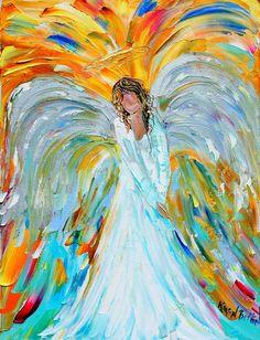 Original oil ANGEL PALETTE KNiFE painting modern impressionism impasto fine art by Karen Tarlton. $98.00, via Etsy.