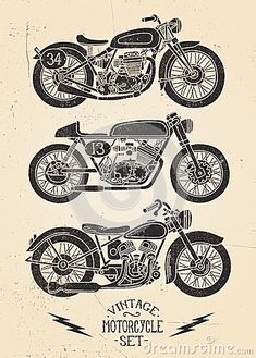 Vintage Motorcycle Set by Krookedeye, via Dreamstime