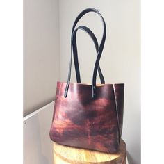SALE Auburn Leather Tote  Mottled Brown Leather  by HattonHenry